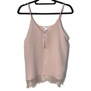 BABY PINK LACE TANK TOP WITH FRONT ZIPPER SIZE L